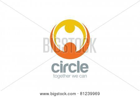 Abstract union circle shape Logo design vector template. Mother & child Logotype. Family Couple holding hands concept icon.
