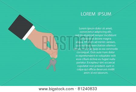 Businessman hand holding and giving keys.
