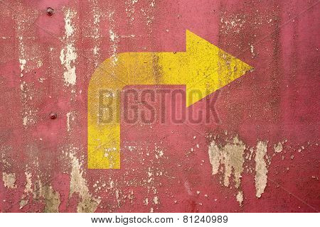 Right Turn Road Sign Painted On Wall