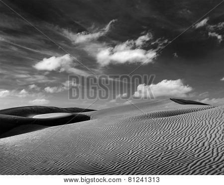Dunes of Thar Desert. Sam Sand dunes, Rajasthan, India. Black and white version