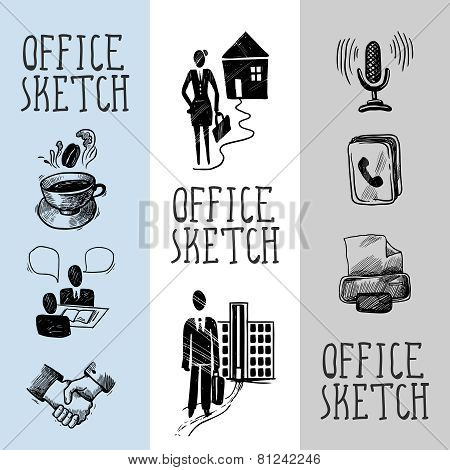 Office sketch banner design