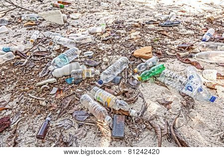Garbage Left By Tourist Visiting Island With Organized Tours.