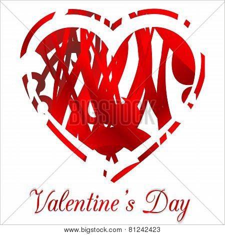 Valentines Day Heart Design on White Background