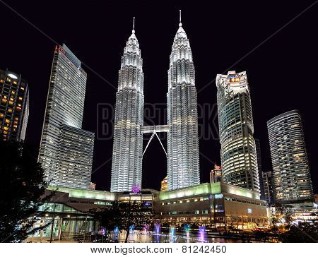 The Petronas Twin Towers At Night.
