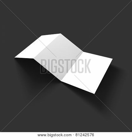 Blank trifold paper brochure mockup template.