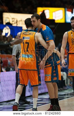 VALENCIA, SPAIN - JANUARY 24: Martinez (17) and Aguilar during Spanish League match between Valencia Basket Club and UCAM Murcia at Fonteta Stadium on January 24, 2015 in Valencia, Spain
