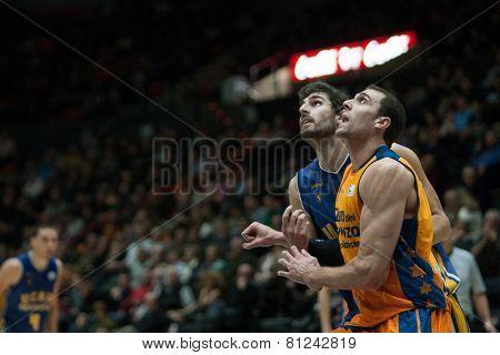 VALENCIA, SPAIN - JANUARY 24: Aguilar (R) during Spanish League match between Valencia Basket Club and UCAM Murcia at Fonteta Stadium on January 24, 2015 in Valencia, Spain