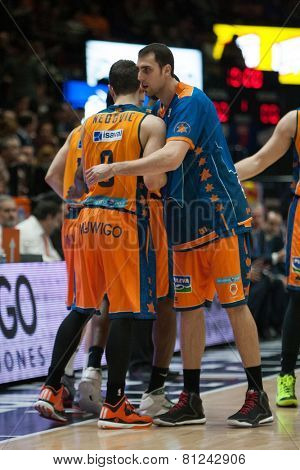 VALENCIA, SPAIN - JANUARY 24: Nedovi and Aguilar during Spanish League match between Valencia Basket Club and UCAM Murcia at Fonteta Stadium on January 24, 2015 in Valencia, Spain