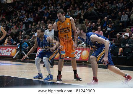 VALENCIA, SPAIN - JANUARY 24: Aguilar (34) during Spanish League match between Valencia Basket Club and UCAM Murcia at Fonteta Stadium on January 24, 2015 in Valencia, Spain