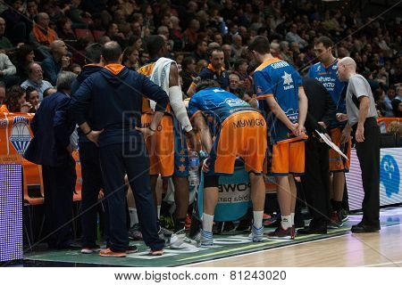 VALENCIA, SPAIN - JANUARY 24: Valencia Team during Spanish League match between Valencia Basket Club and UCAM Murcia at Fonteta Stadium on January 24, 2015 in Valencia, Spain