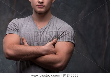 Cropped image of strong masculine hands