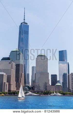 Manhattan New York skyline Freedom tower from Hudson River in USA US