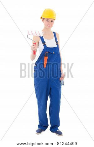 Young Beautiful Woman Painter In Blue Coveralls And Yellow Helmet Isolated On White