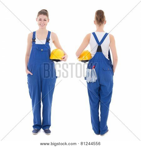 Front And Back View Of Young Attractive Woman Builder In Workwear Isolated On White