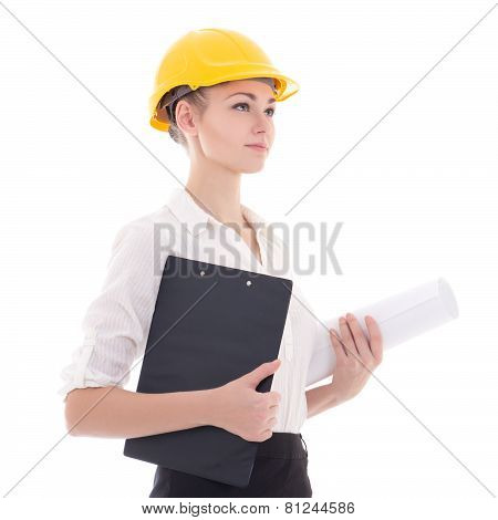 Business Woman Architect In Yellow Builder Helmet Isolated On White