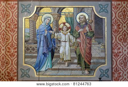 BAD ISCHL, AUSTRIA - DECEMBER 14: Holy Family, parish church of St. Nicholas in Bad Ischl, Austria on December 14, 2014.