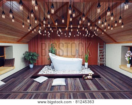 beautiful bath in the attic in the night. 3d design concept