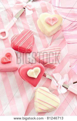 Pink Petit Fours In Heart Shape