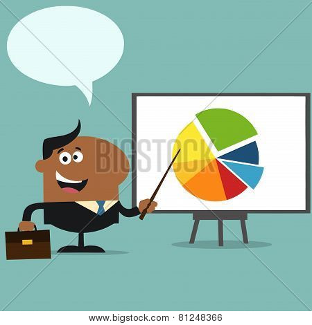 African American Manager Pointing Progressive Pie Chart On A Board.Flat Style