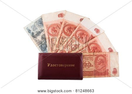 Soviet 10 Rubles And  Document