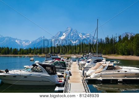 Dock Boat On Jenny Lake, Grand Teton