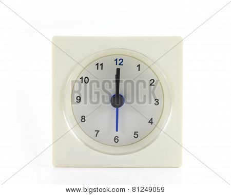 The Clock Isolated On White Background 12 O'clock