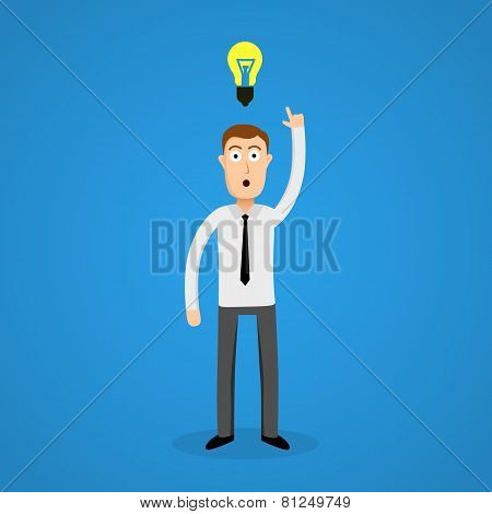 Clever business man and idea bulb.