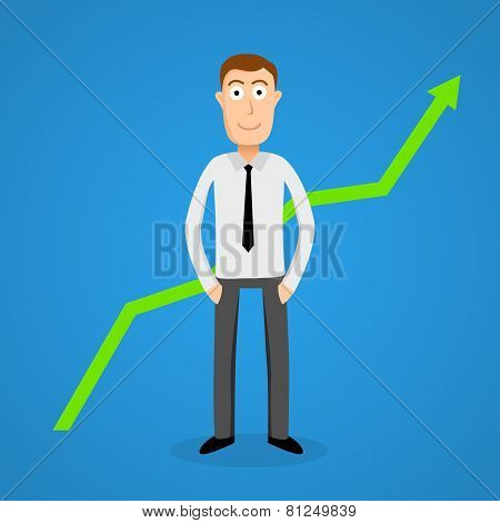 Satisfy business man and growth chart.