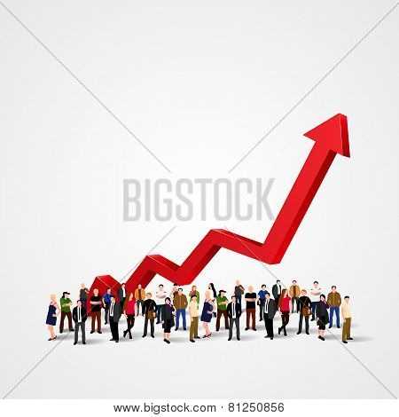 Growth chart and progress in people crowd.