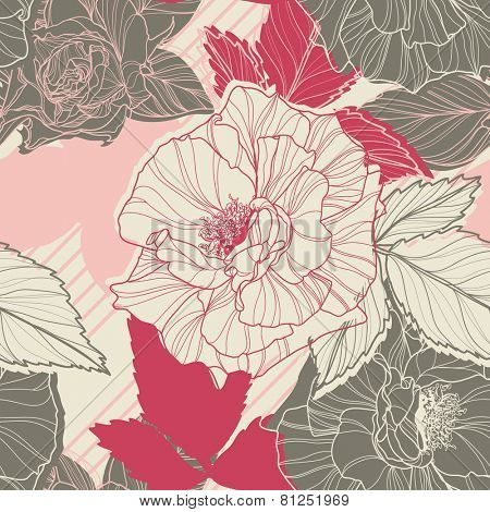 Gentle floral seamless pattern with handdrawn roses. Vintage style.