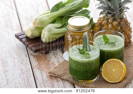 Bok Choy Chinesse Cabbage, Pineapple, Lemon And Honey Mix Juice