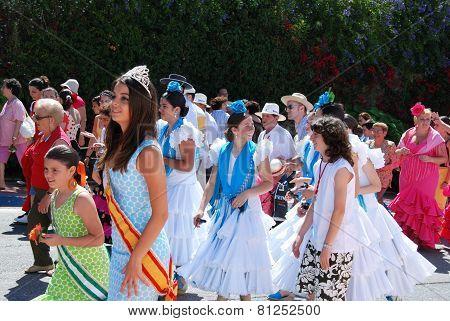 Carnival queen in procession, Marbella.