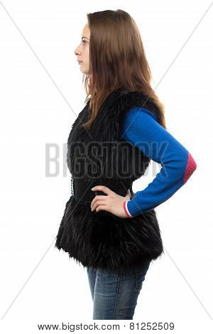 Photo of young woman in fur waistcoat - profile