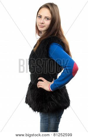 Image of the young woman in fake fur waistcoat