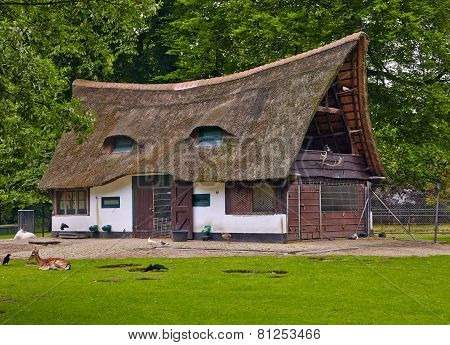 Old House With A Thatched Roof