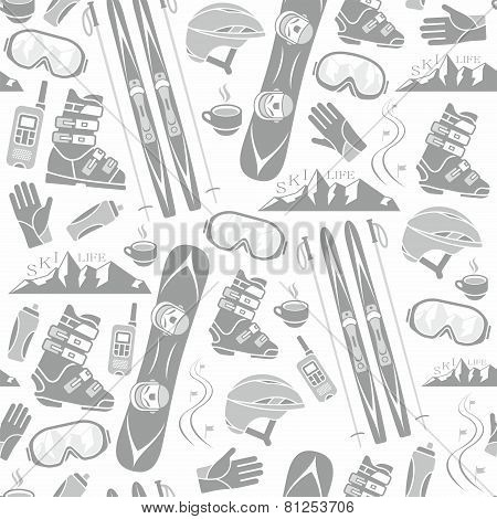 Winter sports collection pattern