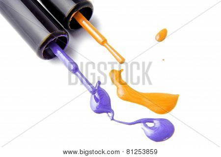 spilled nail polish enamel isolated on white