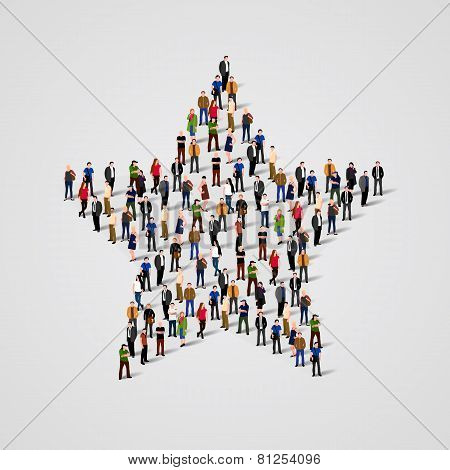 Big group of people standing in a star sign.