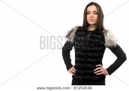 Photo of woman in black fur waistcoat