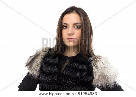 Image of woman in black fur waistcoat