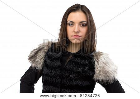 Portrait of woman in black fur waistcoat