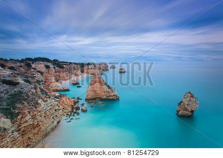 Beautiful Seascape With Unreal Sky Blue Colors. Portugal, Algarve.
