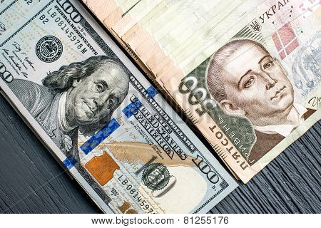 Ukrainian and American money