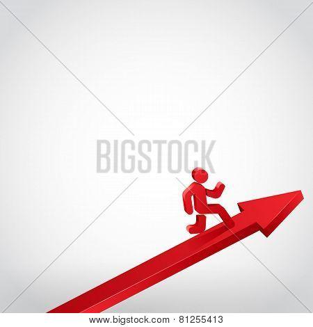 Winner running person on arrow