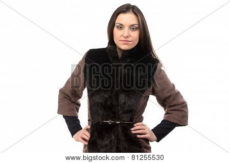 Photo of woman in brown fur waistcoat