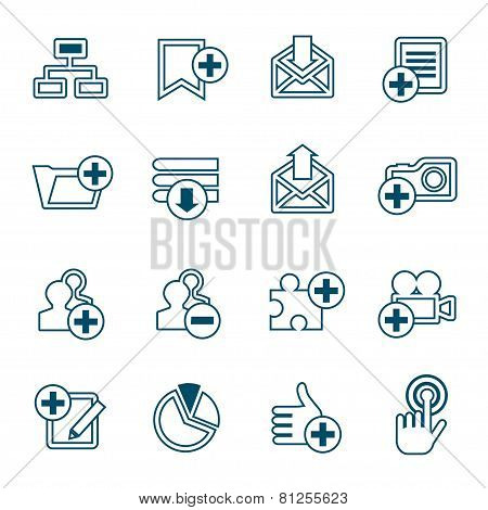 Flat Line Web Icons Set