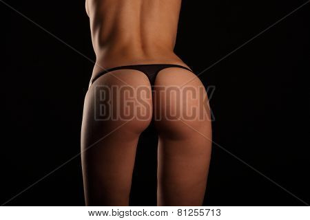 Sexy ass Girls In Black Underwear Isolated