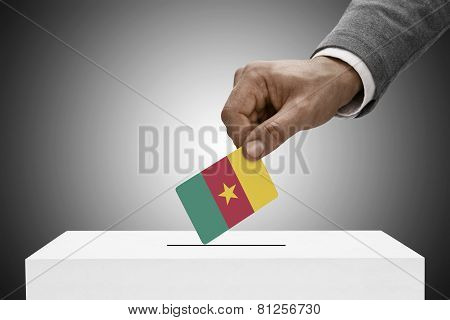 Black Male Holding Flag. Voting Concept - Cameroon