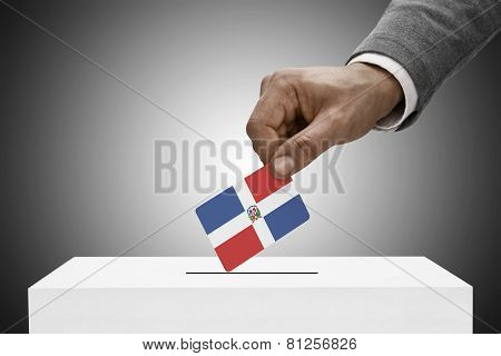 Black Male Holding Flag. Voting Concept - Dominican Republic