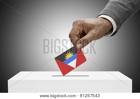 Black Male Holding Flag. Voting Concept - Antigua And Barbuda